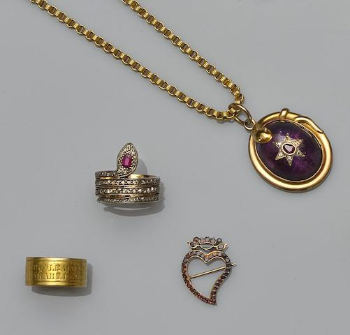 A collection of antique and later jewellery (6)