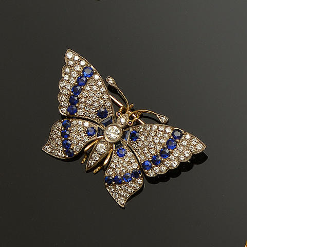 A sapphire and diamond set butterfly brooch