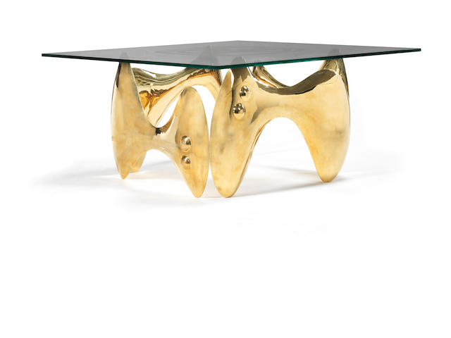 Philippe Hiquily Grande Table de Salle à Manger designed 1979 and executed in 2010 table top etched with artist's monogram also signed Hiquily and numbered 5/8 on base gilt brass and etched glass 76 by 160 by 160 cm.29 15/16 by 63 by 63 in. This work is from an edition of 8 with 4 artists's proofs.