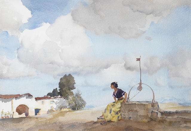 Sir William Russell Flint, RA, PRWS (British, 1880-1969) The girl at the Hacienda, Sierra de Segura