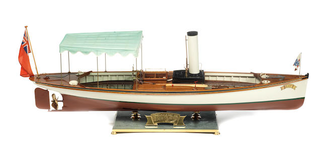 A working scale model of the Steam Launch BAT 1891 Case: 45x12x16.5ins.(114x30x42cm)