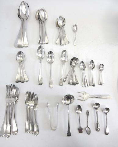 Six George III silver Fiddle pattern table forks probably by John Blake, London 1807; together with a quantity of other flatware (Qty)