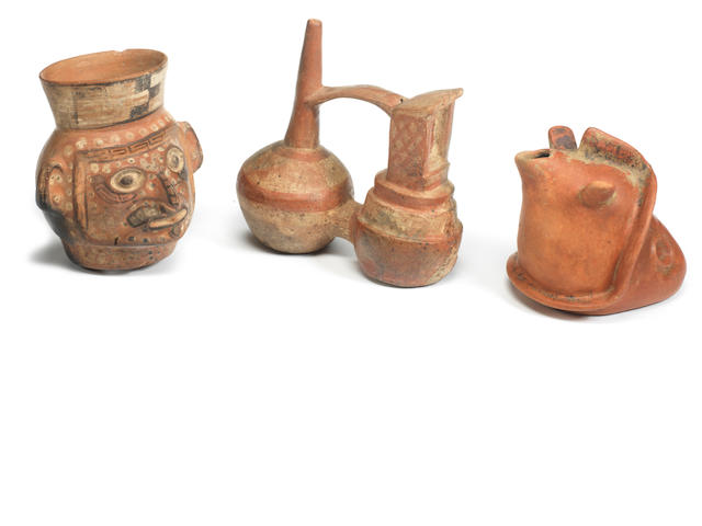 A Chimu bridge-spout vessel, a Colima pouring vessel and a Moche urn Peru and Mexico. 3