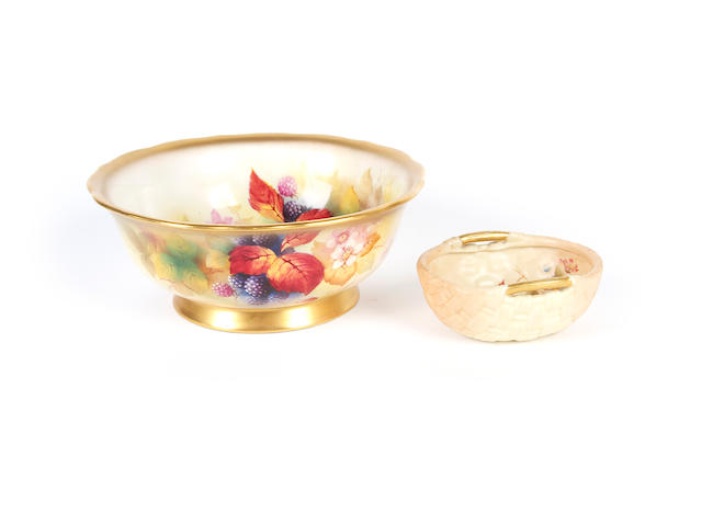 A Royal Worcester bowl by Kitty Blake and a small blush ivory basket, circa 1920-30