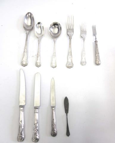 A matched silver King's pattern flatware service predominately by Elkington & Co, Birmingham 1959 / 60