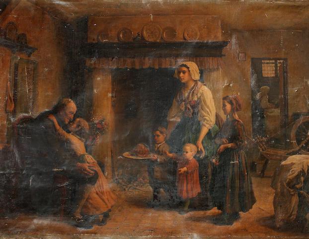 Jules Adolphe Breton (French, 1827-1906) La Fête de Grandpère
