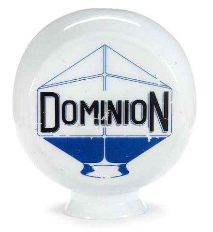 A Dominion glass petrol pump globe,