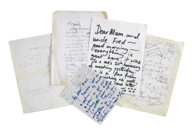 The Rolling Stones: Letters from Keith Richards and Ronnie Wood to Freddy Sessler,