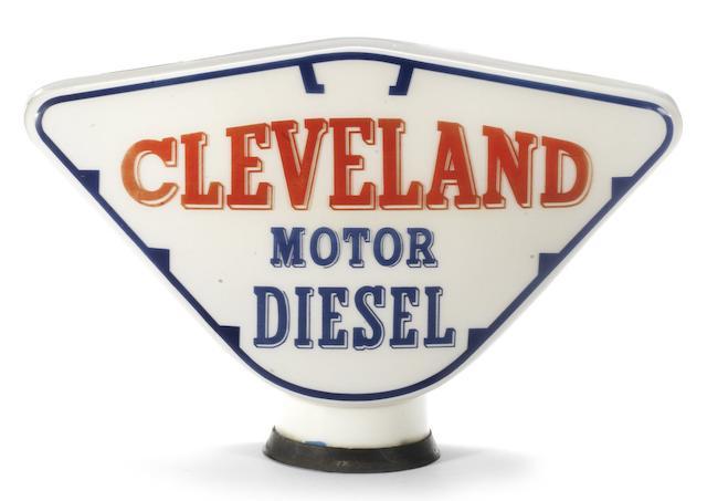 A scarce Cleveland Motor Diesel glass petrol pump globe,