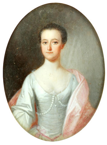 Circle of Allan Ramsay (Edinburgh 1713-1784 Dover) Portrait of a lady, half-length, wearing a silver-coloured dress and pale pink wrap