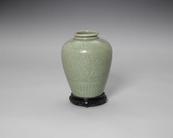 A Longquan celadon glazed oviform vase Ming Dynasty