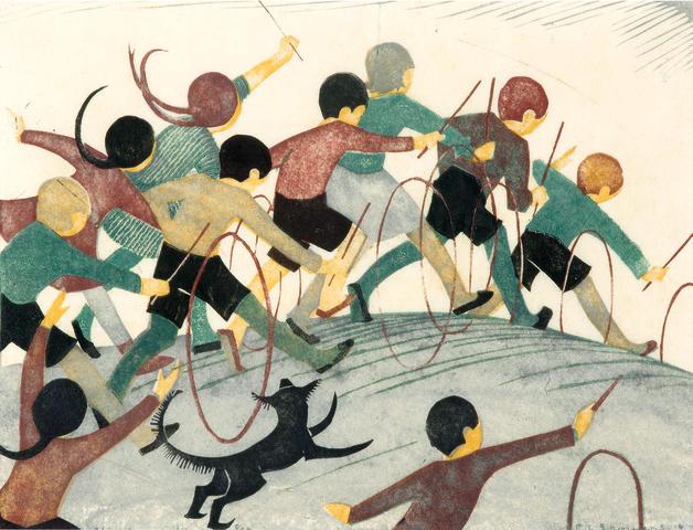 Ethel Spowers (1890-1947) Children's Hoops, 1936 19.8 x 26.2cm (7 6/8 x 10 2/8in) (Block)