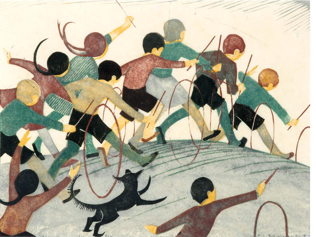 Ethel Spowers (1890-1947) Children's Hoops, 1936 19.8 x 26.2cm (7 6/8 x 10 2/8in) (Block)