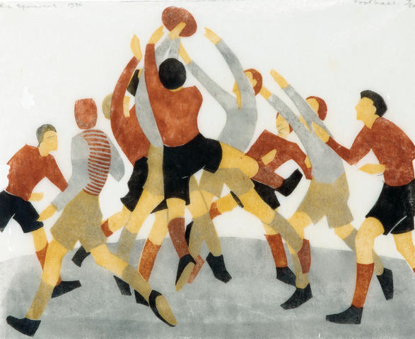 Ethel Spowers (1890-1947) Football, 1936 22.6 x 27.6cm (8 7/8 x 10 6/8in) (Block)