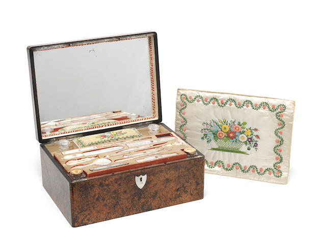 An early 19th century French mother of pearl sewing and writing box