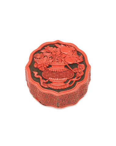 A small cinnabar lacquer box and cover Qianlong/Jiaqing