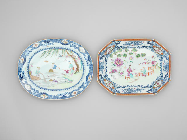 Two famille rose and underglaze blue and white oblong dishes 18th century
