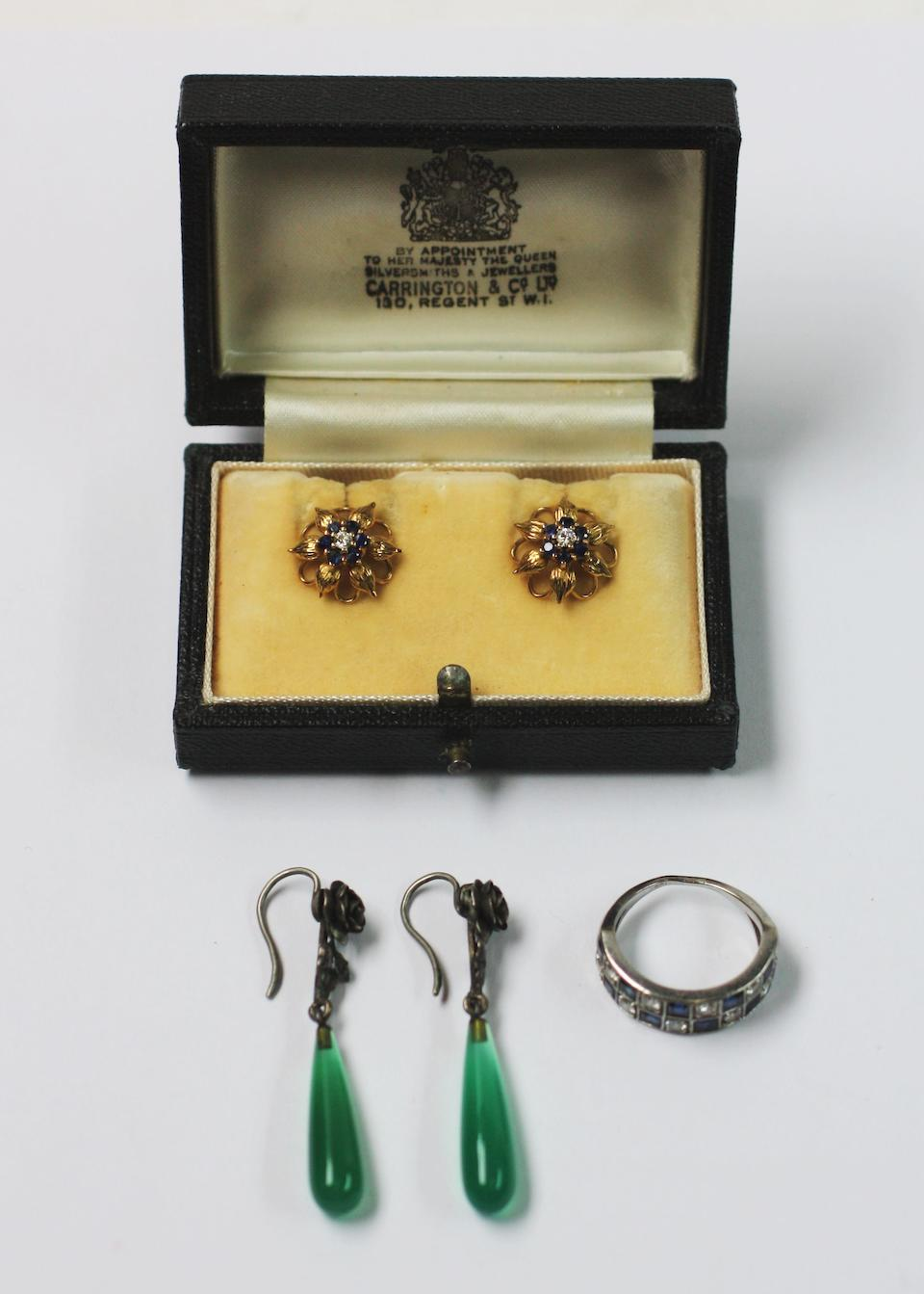A sapphire and diamond half hoop ring and two pairs of earrings (3)