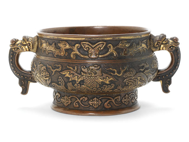A parcel-gilt bronze incense burner, gui Early 17th century, attributed to Hu Wenming