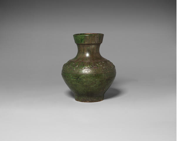 A lead green glazed vase, hu Han Dynasty