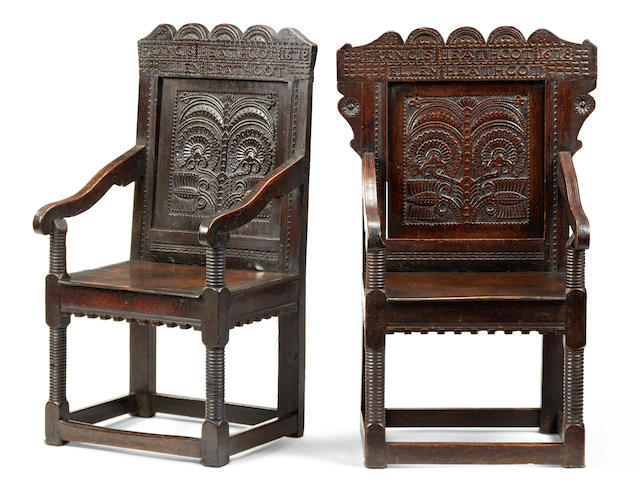 A extremely rare pair of Charles II commemorative oak panel-back open armchairs, named and dated, Cheshire/Derbyshire