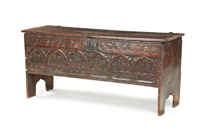 A rare and unusual Elizabeth I large carved oak boarded chest, circa 1570-1600