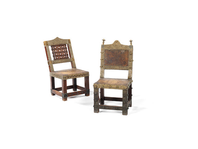 Two Asante chairs, asipim, Ghana. 90cm high