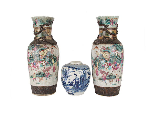 A pair of Chinese famille rose vases, Chenghua marks but Qing Dynasty, and a blue and white vase