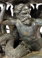 An impressive patinated and verdigris bronze figural fountain in the Baroque taste