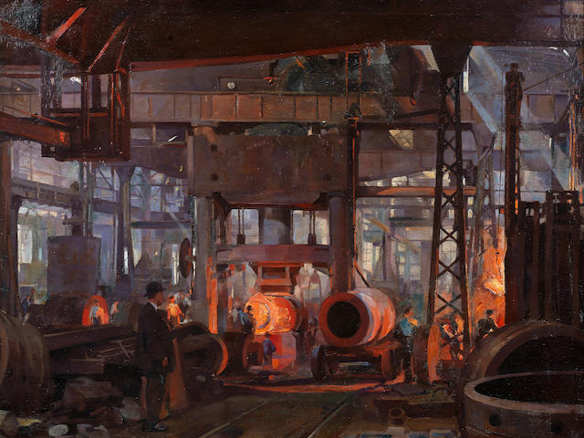 "Anna Airy, RI, ROI, RP, RE, PS, GI (British, 1882-1964) Forging section of 18"" naval gun jacket"