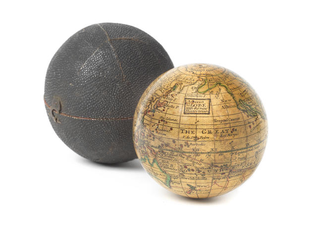 A 2 3/4-inch pocket globe, anonymous, after Herman Moll,  English,  late 18th century,