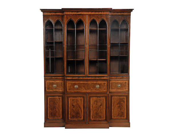 A 19th century mahogany and tulipwood crossbanded breakfront secretaire bookcase