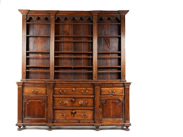 A George III style oak high dresser, YorkshireIncorporating some period elements