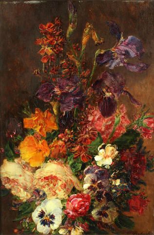 William P. Babcock (American, 1826-1899) Still life of flowers in a vase; and companion