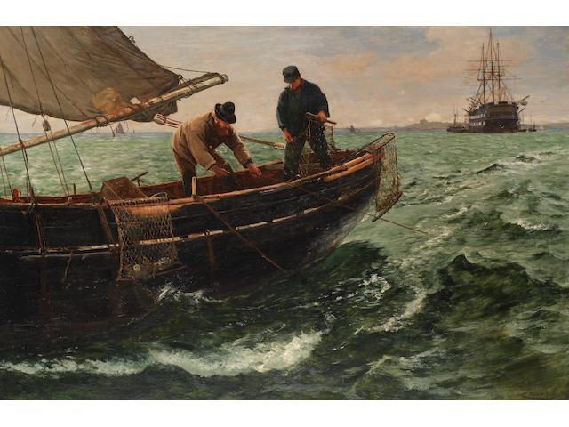 Charles Napier Hemy, RA RWS (British, 1841-1917) 'Hauling in the Nets'