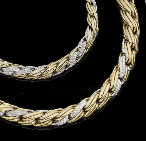 A diamond-set collar necklace and bracelet suite (2)