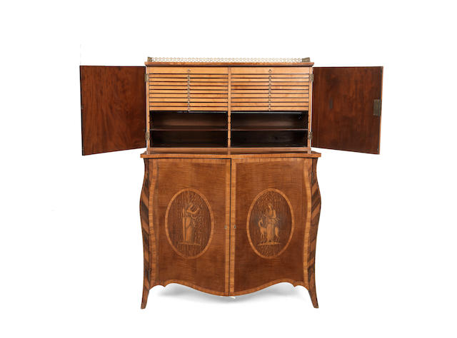 A fine George III harewood, tulipwood, purpleheart and marquetry collector's cabinet