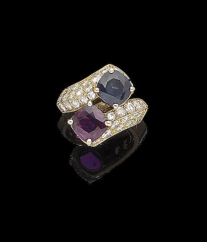 A ruby, sapphire and diamond crossover ring