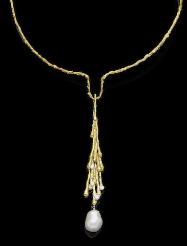 A gold, cultured pearl and diamond-set pendant torque collar necklace, by Grima,