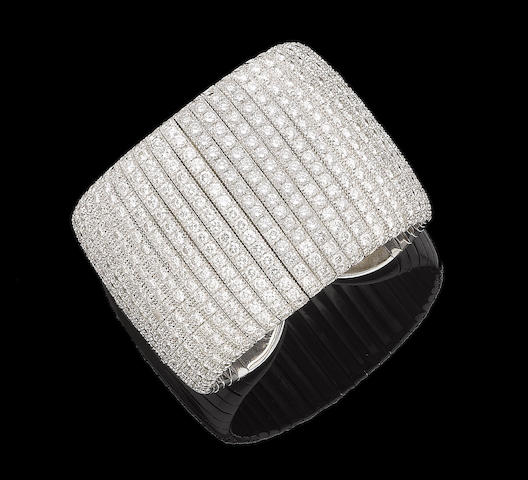 A diamond-set cuff bangle