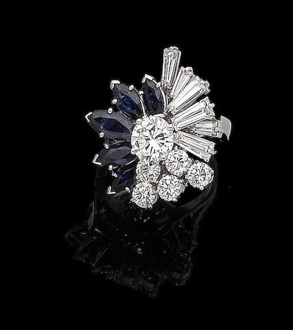 A sapphire and diamond dress ring, by Kutchinsky
