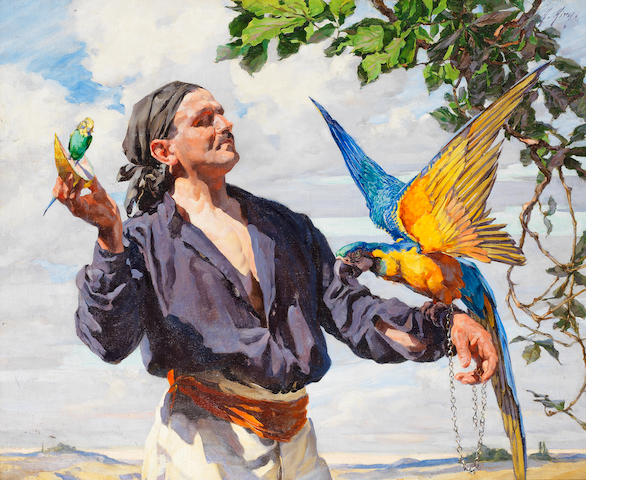 Anna Airy, RI, ROI, RP, RE, PS, GI (British, 1882-1964) The man with a Macaw
