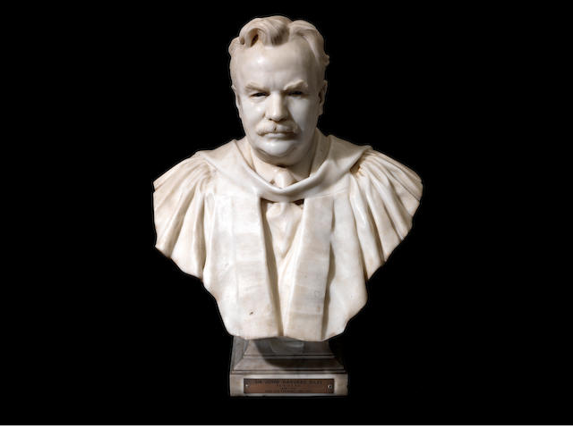 An early 20th century sculpted white marble bust of Sir John Harvard Biles, British (1854 - 1933)