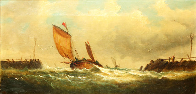 English School, mid/late 19th Century Yacht off the coast; fishing boat entering a harbour (2)