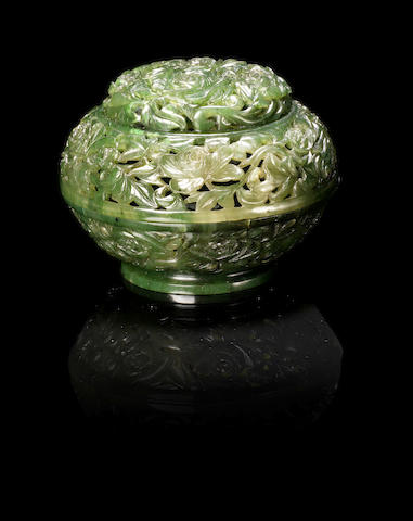 A spinach green jade parfumier and cover 19th century