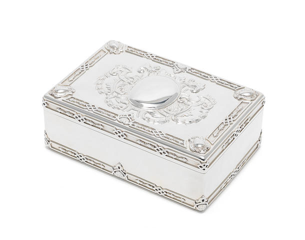 A Victorian silver cigar box by Frazer & Haws, London 1890