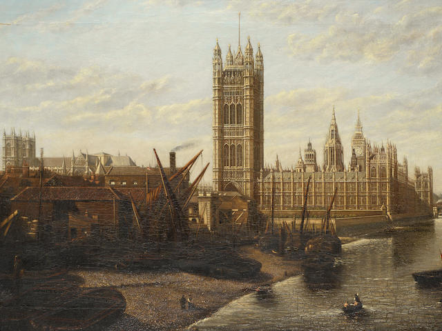 William Robert Latta (British, 1833-1910) The Houses of Parliament from the Thames