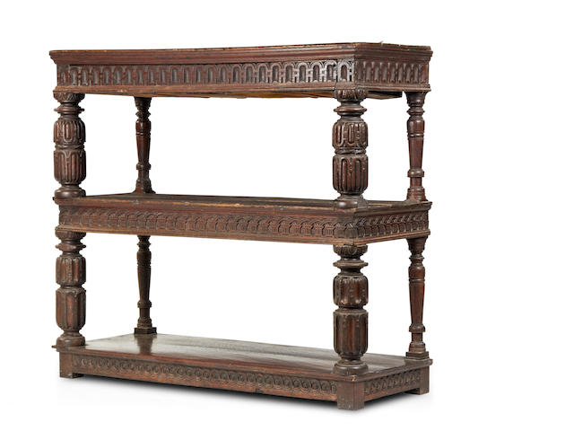 A rare James I oak three-tier buffet, circa 1610-20