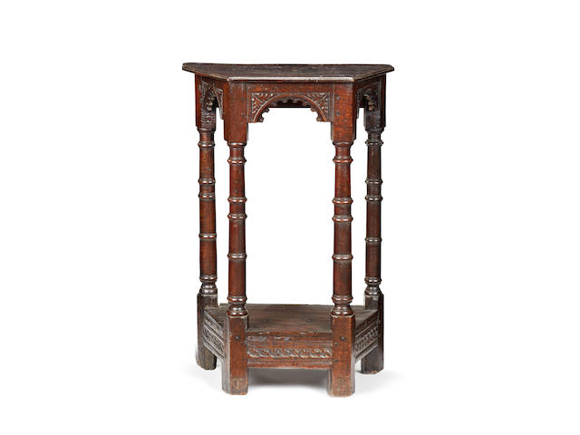 An exceptionally rare small early 17th century oak upright side table, possibly Salisbury, circa 1620-30 Popularly referred to as credence-table form