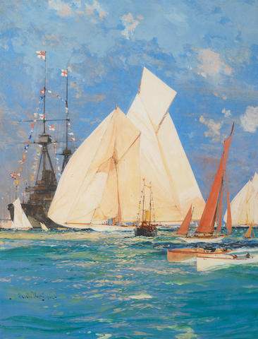 Charles Edward Dixon (British, 1872-1934) Waterwitch out in front as she races past the guardship at Cowes